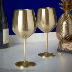 Gold Vonshef Weinglas Edelstahl Gold Ohne Stiel 2 Stück