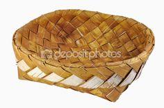 Tom flätat näver bröd rutan isolerade över vit bakgrund — Stockbild #4217965