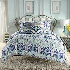 Transform your bedroom into an exotic retreat with the lovely Jolie collection from Anthology. This Bohemian chic collection features a Moroccan-inspired Ikat print in tranquil shades of blue