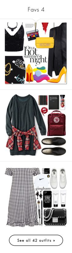 """""""Favs 4"""" by nailahmanal ❤ liked on Polyvore featuring Moschino, Christian Louboutin, Anastasia Beverly Hills, Fjällräven, Bobbi Brown Cosmetics, Urbanears, MICHAEL Michael Kors, Vans, NIKE and Casetify"""