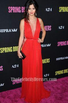 Selena Gomez Red Beaded Prom Evening Dress  Spring Breakers  LA Premiere 961e06f01584