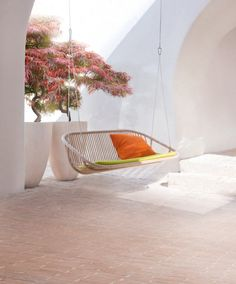Idyllischen Garten Terrasse-einrichten Ideen Schaukelsessel hängesofa-Swing-aqua