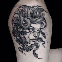 #medusa done at @bloodcandy_tattoo with @quantumtattooinks #blackwork #blackink #oneneedle #onecup #inked #tattooed #tattoo #taty… Badass Tattoos, Leg Tattoos, Body Art Tattoos, Cool Tattoos, Tatoos, Medusa Tattoo Design, Tattoo Designs, Statue Tattoo, Unique Tattoos