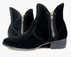 FREE PEOPLE BOOTS 8 DOUBLE ZIP BLACK Suede Ankle Booties *LOVELY* Size 8 #FreePeople #AnkleBoots