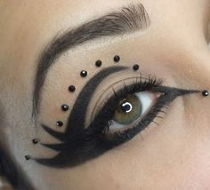 Black Goth Eye Makeup With Diamond