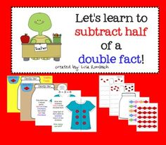 Subtracting Half a Double SmartBoard Lesson (.notebook file) Includes printable materials (pdf) in the attachments tab to use with the smartboard lesson $