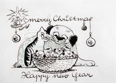 MERRY CHRISTMAS AND HAPPY NEW YEAR by VICTORIA DAVIDSON Merry Christmas And Happy New Year, Historical Fiction, The Guardian, Original Artwork, Snoopy, Victoria, Ink, Cartoon, Fictional Characters
