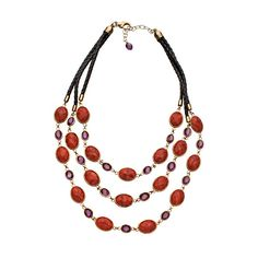 Coral Crystal Bib Necklace ($175) ❤ liked on Polyvore