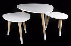 3 Sizes  White Top Wooden Natural Legs Retro Pebble Side End Coffee Lamp Tables