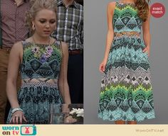 Carrie's blue and green midi dress with waist cutout on The Carrie Diaries. Outfit Details: http://wornontv.net/22189 #TheCarrieDiaries