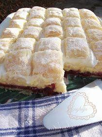 Tortázda: Jóság szelet Hungarian Desserts, Hungarian Recipes, Sweet Recipes, Cake Recipes, Dessert Recipes, Bosnian Recipes, Frozen Puff Pastry, Different Cakes, Salty Snacks