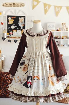Lyreivy -The Coffee House of the Cats- Sweet Classic Lolita OP Dress