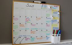Color Coded Dry-Erase Family Wall Calendar - perfect for a DIY Command Center to organize your life!