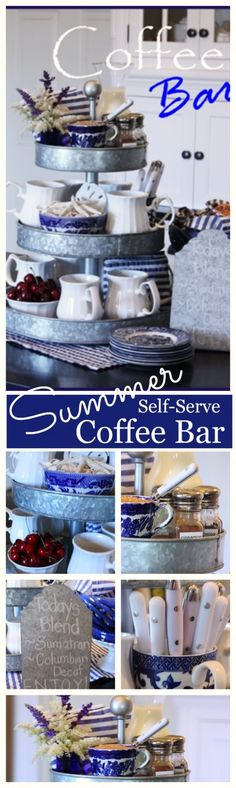 SELF SERVE SUMMER COFFEE BAR  A fun and easy way to serve morning coffee to family and guests.