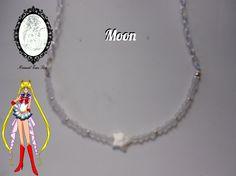 Collar de ágatas blancas o lechosas, con una estrella de nácar inspirado en Eternal Sailor Moon. http://tienda-mermaidtearsshop.rhcloud.com/es/gargantillas/68-sailor-moon-inspiration.html