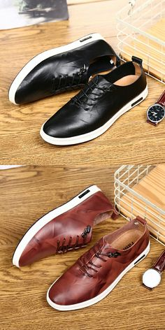 US $27.8 <Click to buy> Prelesty Leather Men Casual Shoes Lace Up Men Dress Loafers Cap Toe Cool Moccasins
