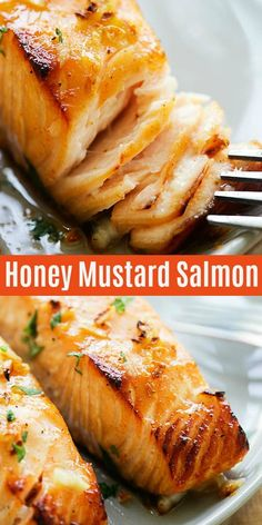 Easy and healthy baked salmon with lemon, garlic and honey mustard is one of the best salmon recipes baked in oven. Tender salmon fillet with 5 mins prep. Salmon Dishes, Fish Dishes, Seafood Dishes, Seafood Recipes, Cooking Recipes, Healthy Recipes, Sushi Recipes, Bread Recipes, Appetizer Recipes