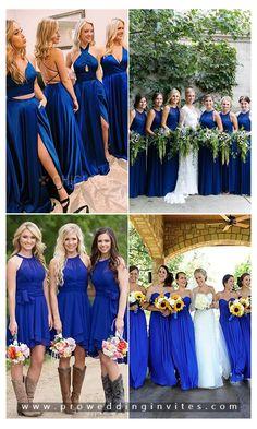 Compelling Royal Blue Wedding Ideas with Matching Invitations Royal Blue Bridesmaid Dresses, Pink Wedding Dresses, Wedding Colors, Bridesmaid Colours, Purple Wedding, Royal Blue Wedding Cakes, Royal Blue Weddings, Blue Country Weddings, Doctor Who Wedding