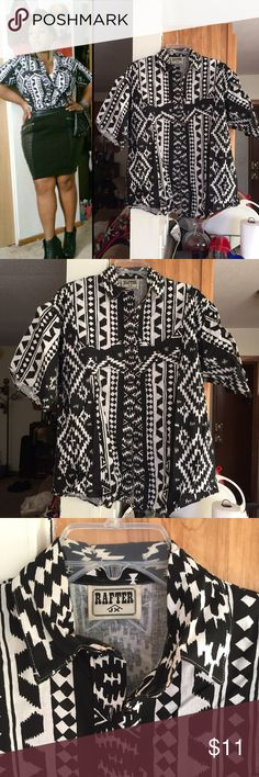 Vintage Aztec Print Shirt I believe this is a men's shirt but don't quote me on that. I wore it and made it look feminine lol.  Size large, 100% Cotton Tops Button Down Shirts