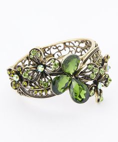 Take a look at the Gold & Green Rhinestone Flower Hinged Bangle on #zulily today!