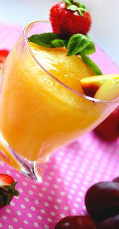 Moscato Peach Wine Slushies ~ Just three ingredients, few minutes and simple instructions and you will create a delicious party drink!