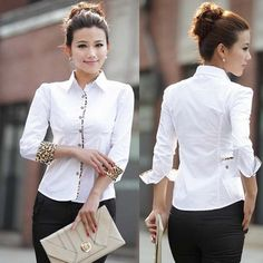 Charm Office Formal Clothes 2013 Leopard Slim Women White Shirt Size S-2XL New Sweet Lady OL Fashion Blouse Free Shipping D1239 $27.18
