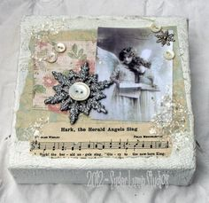 Beautiful Christmas collage canvas by Nancy Maxwell James