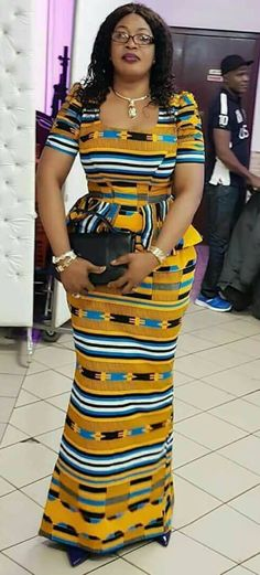 Kente kaba and slit style, african fashion, ankara, kitenge, african women dresses African Dresses For Kids, African Fashion Designers, Ghanaian Fashion, Latest African Fashion Dresses, African Print Dresses, African Print Clothing, African Print Fashion, Africa Fashion, African Prints