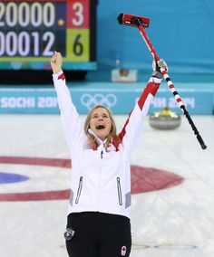 Jennifer Jones of Team Canada celebrates her gold medal women's curling performance against Sweden at the Sochi 2014 Olympic Games