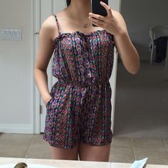 Tribal/geo print romper Never worn, adjustable straps, pockets, size medium but fits small as well! Forever 21 Dresses Mini
