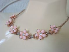 50s Luscious Lucite Pastel Pink Floral Rhinestone Necklace on Etsy, $18.95