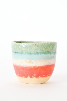 RED STRIPE TEA CUP by Shino Takeda