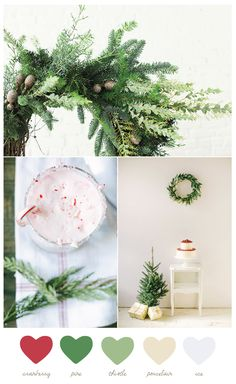 Cranberry + Pine Love this classic, natural Christmas palette