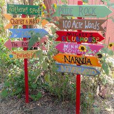 , Custom Outdoor Yard Garden Sign on a pole or without a pole - 5 signs included. , Custom Outdoor Yard Garden Sign on a pole or without a pole - 5 signs included Outdoor Projects, Projects For Kids, Art Projects, Outdoor Crafts, Outdoor Art, Outdoor Spaces, Project Ideas, Directional Signs, Garden Signs