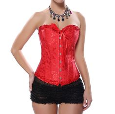 Grebrafan Wedding Lace up Boned Corset Busiter Top Clubwear Plus Size (US(6-8) M, Red). Corsets run smaller. Please choose the upper size if you are not quite sure. Excellent for waist training,Party/wedding/show/clubwear corset skirt. Fully adjustable ribbon lacing in the back, adjust to fit your waist. Embroidered Pattern Lace Trim Elegant Corset Strapless Wedding Dress Corset Bustiers. Our corsets are perfect for clubbing, intimate or naughty occasions. Jeans, skirt, or any other type…