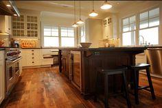 Dark Wood Floor Kitchen Design, Pictures, Remodel, Decor and Ideas - page 7 Wood Kitchen, Wood Kitchen Cabinets, Kitchen Design, Kitchen Island With Seating, Dark Wood Kitchens, Kitchen, Kitchen Redo, Craftsman Kitchen, Kitchen Styling