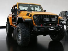 Want to know what Jeep Performance Parts are available for the Wrangler? Just look at the Nacho Jeep concept. Jeep Jk, Jeep Wrangler, Jeep Rubicon, Jeep Truck, Jeep 2018, Jeep Performance Parts, Orange Jeep, Jeep Concept, Easter Jeep Safari