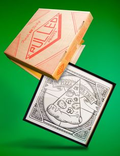 """In Pizza We Trust A 12X12"""" design screenprinted by yours truly.  A limited amount came framed and in a specially designed and screenprinted pizza box.  Prints Availble Now."""