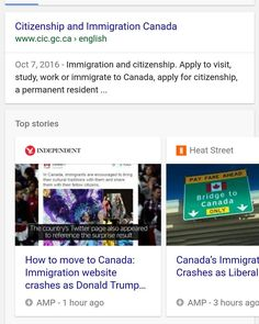 #confirmed #canadian #immigration #website #crashes because of #donaldtrump vs #hillaryclinton #2016election