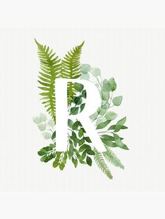 """""""Floral letter R"""" Photographic Print by helga-wigandt Typography Drawing, Watercolor Lettering, Floral Watercolor, Watercolor Paintings, Watercolour, Caligraphy Alphabet, Floral Letters, T Art, Floral Illustrations"""