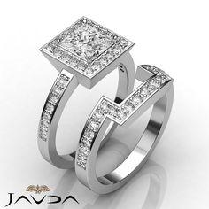 Halo Princess Diamond Pave Bridal Set Engagement Ring EGL F VS2 Platinum 2 4 Ct | eBay