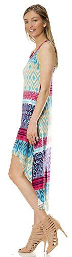 76924R Love Collection Womens Aztec Print Maxi Hi Lo Racerback Dress  Cover Up in Coral Combo M ** Find out more about the great product at the image link.