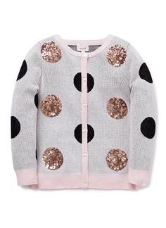 100% Cotton Cardigan. Fully-fashioned crew neck knit cardigan. Features rose gold sequin and black spot detail.