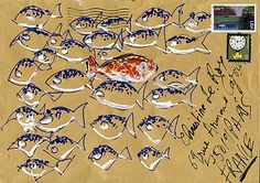Mail art-many fishies Mail Art Envelopes, Decorated Envelopes, Envelope Art, Postcard Art, Letter Art, Letter Writing, Lost Art, Mix Media, Poster