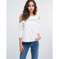 Vero Moda Cold Shoulder Frill Detail Blouse ($48) ❤ liked on Polyvore featuring tops, blouses, white, frilly blouse, cold shoulder blouse, cotton blouse, white cold shoulder blouse and white ruffle top