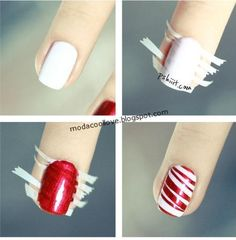 Candy cane mani. Might actually try this. Not on every nail. Ain't nobody got time for that.