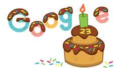 23rd Birthday, Birthday Celebration, Happy Birthday Google, Google Co, Larry Page, Google Doodles, Cute Doodles, Custom Stamps, Doodle Art