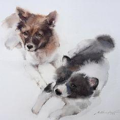 My boys... Rocky and Hacker!  #watercolor #watercolorist #art #artist #artwork #arts_help #arts_gallery #paint #painting #dogs #puppy #sweet #love #pet