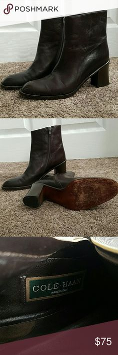 "COLE HAAN Ankle Boots These gorgeous ankle boots by Coke Haan are made in Italy and come in 7 1/2 AA. They are in EUC with minor wear to the soles. The heels measure 2 3/4"" Cole Haan Shoes Ankle Boots & Booties"