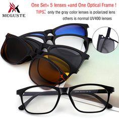 d244d28f85f6 Meguste Magnet men Sunglasses Clip Magnetic Mirrored Clip on Sunglasses  women Polarized Clips Custom Prescription Night vision-in Eyewear Frames  from Men s ...